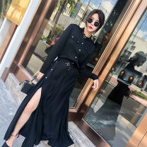 Dress Spring 2021 black S,M,L,XL longuette singleton  Long sleeves street Crew neck High waist Solid color Single breasted Big swing shirt sleeve Others 25-29 years old More than 95% polyester fiber Europe and America