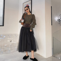 skirt Spring 2020 S,M,L Elegant black, ripe plum dark red Mid length dress Versatile High waist High waist skirt Solid color Type A 35-39 years old QZ205013HYS More than 95% Other / other other Mesh, stitching