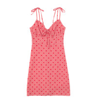 Dress Summer 2021 Red and pink S,M,L Short skirt singleton  Sleeveless commute V-neck High waist lattice Socket One pace skirt other camisole 18-24 years old Type H Retro Print, lace up JIN041003