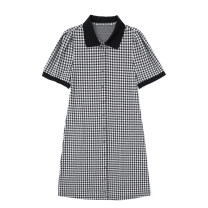Dress Summer 2021 Black and white S, M Short skirt singleton  Short sleeve commute Polo collar High waist lattice Single breasted One pace skirt puff sleeve Others 18-24 years old Type H Retro Button JIN041003