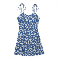 Dress Summer 2021 blue S,M,L Short skirt singleton  Sleeveless commute V-neck High waist Decor Socket One pace skirt camisole 18-24 years old Type A Print, lace up