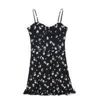 Dress Summer 2021 black S,M,L Short skirt singleton  Sleeveless commute V-neck High waist Big flower Socket One pace skirt other camisole 18-24 years old Type H Retro printing JIN022707