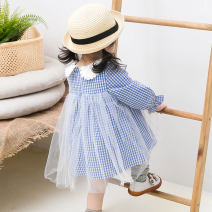 Dress Blue check female Angel Pilu 73cm 80cm 90cm 100cm 110cm 120cm Cotton 100% spring and autumn other Long sleeves cotton A-line skirt 19C003 Class A Spring of 2019 12 months, 18 months, 2 years old, 3 years old, 4 years old, 5 years old, 6 years old
