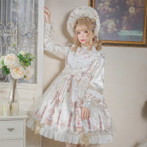 Dress Spring 2020 Generative, silver grey S,M,L Middle-skirt singleton  Long sleeves Sweet Half high collar middle-waisted Hand painted Princess Dress bishop sleeve Type X Bear sauce Bowknot, ruffle, fungus, tridimensional decoration, bandage, button, mesh, lace, printing
