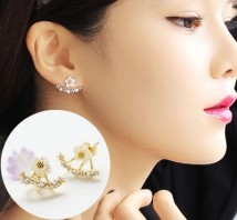 Ear Studs Alloy / silver / gold 30-39.99 yuan Golen Bowl Black floret with gold background Silver floret with black background Gold Silver brand new Japan and South Korea female goods in stock Fresh out of the oven Alloy inlaid artificial gem / semi gem Plants and flowers E-003