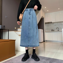 skirt Spring 2021 S,M,L,XL blue longuette commute High waist A-line skirt Solid color Type A 18-24 years old 51% (inclusive) - 70% (inclusive) Denim Jie Huiting cotton pocket Korean version