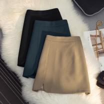 skirt Autumn 2020 S,M,L,XL Black, dark green, khaki Short skirt commute High waist A-line skirt Type A 18-24 years old 51% (inclusive) - 70% (inclusive) zipper Korean version