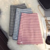skirt Spring 2021 S,M,L,XL Black, blue, pink Short skirt commute High waist A-line skirt lattice Type A 18-24 years old 51% (inclusive) - 70% (inclusive) zipper Korean version