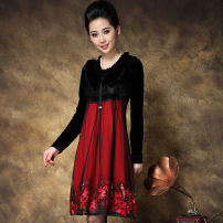 Women's large Spring 2021 Black red Large XL, large XXL, large XXL, large L Dress singleton  other easy moderate Socket Long sleeves Solid color other other Make old routine T33 TCPP 30-34 years old 96% and above Middle-skirt other other 161g / m ^ 2 (including) - 180g / m ^ 2 (including)