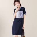 Women's large Summer 2020 dark blue M,2XL,3XL,4XL,L,XL Dress singleton  commute easy moderate Socket Short sleeve literature other polyester fiber Three dimensional cutting routine GD40D33638F Other / other 30-34 years old 96% and above Medium length