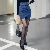 skirt Winter 2020 S,M,L Denim blue Short skirt commute High waist Irregular Solid color Type O 25-29 years old QC6059 Denim polyester fiber