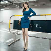 Dress Autumn 2020 Malachite blue S,M,L Short skirt singleton  Long sleeves commute square neck High waist Solid color zipper One pace skirt routine 25-29 years old Type O Pleating LC6029 91% (inclusive) - 95% (inclusive) other cotton