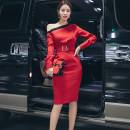Dress Autumn 2020 gules 160/M,165/L,155/S Middle-skirt singleton  Long sleeves commute Slant collar High waist Solid color zipper Pencil skirt routine Oblique shoulder 25-29 years old Type O Korean version Button, button LA1719 More than 95% other polyester fiber
