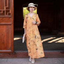 Dress Spring 2021 Decor M, L longuette singleton  three quarter sleeve commute V-neck High waist Decor other A-line skirt routine Others 35-39 years old Type A Chaos in the south of the Yangtze River ethnic style Lace up, button 51% (inclusive) - 70% (inclusive) other cotton