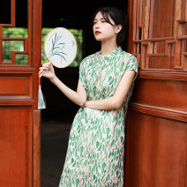 Dress Summer 2021 Decor M, L Mid length dress singleton  commute stand collar High waist Decor Socket A-line skirt Sleeve Others 35-39 years old Type A Chaos in the south of the Yangtze River Retro Button, print 91% (inclusive) - 95% (inclusive) other hemp