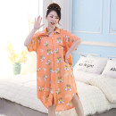 Nightdress Other / other One size fits all gift Sweet Short sleeve Leisure home longuette summer Cartoon animation youth Shirt collar cotton printing Knitted cotton fabric 2020 5 5 21 26 280g