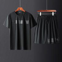 Leisure sports suit summer XL,2XL,3XL,4XL,5XL,6XL black Short sleeve Other / other Pant Large size T-shirt QY-T53+CFH2503 nylon 2021 76% nylon 24% spandex