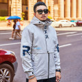 Jacket Other / other Fashion City routine easy go to work spring Polyester 100% Long sleeves Wear out Hood Youthful vigor youth routine Zipper placket 2021 Straight hem washing Closing sleeve Color block polyester fiber printing Side seam pocket polyester fiber More than 95%