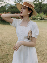 Dress Summer 2021 white S,M,L Mid length dress singleton  Short sleeve commute square neck High waist Solid color zipper Big swing bishop sleeve 25-29 years old Type A Retro Gouhua hollow
