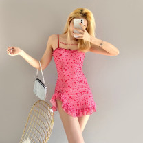 Dress Summer 2021 Pink S,M,L Short skirt singleton  Sleeveless street One word collar High waist Dot Socket A-line skirt camisole 18-24 years old Type A sisterlinda Open back, Ruffle 91% (inclusive) - 95% (inclusive) Chiffon polyester fiber Europe and America