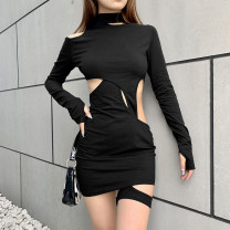 Dress Spring 2021 black S,M,L Short skirt singleton  Long sleeves street Crew neck High waist Solid color Socket One pace skirt routine Others 18-24 years old sisterlinda Hollowed out, stitched K20S10468 91% (inclusive) - 95% (inclusive) other polyester fiber Europe and America
