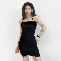 Dress Spring 2021 black S,M,L Short skirt singleton  Sleeveless street One word collar High waist Solid color Socket One pace skirt camisole 18-24 years old Type H sisterlinda backless K20D10791 91% (inclusive) - 95% (inclusive) polyester fiber Europe and America