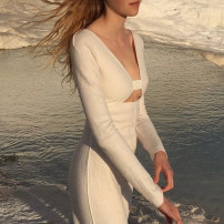 Dress Winter 2020 Off white S,M,L longuette singleton  Long sleeves street V-neck High waist Solid color One pace skirt routine Others 18-24 years old Type H Hollowing out 91% (inclusive) - 95% (inclusive) polyester fiber Europe and America