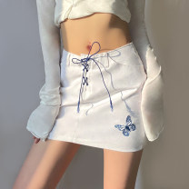 skirt Summer 2021 S,M,L white Short skirt street High waist A-line skirt Solid color Type H 18-24 years old K21J00092 91% (inclusive) - 95% (inclusive) Denim sisterlinda cotton Embroidery, lace up, stitching Europe and America