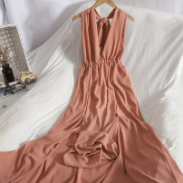 Dress Spring 2021 black , khaki , royal blue , Pink Average size longuette singleton  Sleeveless commute V-neck Elastic waist Solid color A-line skirt other Type A Korean version backless 71% (inclusive) - 80% (inclusive)