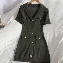 Dress Spring 2021 White, black, army green Average size Mid length dress singleton  Short sleeve commute V-neck High waist Solid color Socket A-line skirt routine 18-24 years old Type A lady Pocket, button 81% (inclusive) - 90% (inclusive) knitting
