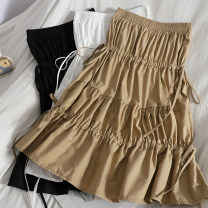 skirt Spring 2021 Average size White, black, khaki, sapphire Middle-skirt Versatile High waist Cake skirt Solid color Type A 18-24 years old 71% (inclusive) - 80% (inclusive) other Bow, ruffle, lace