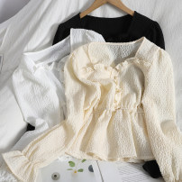 shirt Apricot, white, black Average size Spring 2021 other 71% (inclusive) - 80% (inclusive) Long sleeves Versatile Short style (40cm < length ≤ 50cm) Socket routine Solid color 18-24 years old Straight cylinder Auricularia auricula, button