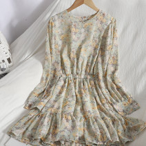 Dress Spring 2021 Yellow, water green Average size Mid length dress singleton  Long sleeves commute Crew neck Elastic waist Broken flowers A button Ruffle Skirt puff sleeve 18-24 years old Type A Korean version Ruffles, buttons 81% (inclusive) - 90% (inclusive) Chiffon