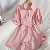 Dress Spring 2021 White, yellow, blue, pink Average size longuette singleton  Short sleeve commute Polo collar High waist Solid color Single breasted Irregular skirt puff sleeve 18-24 years old Type A Korean version Button 71% (inclusive) - 80% (inclusive)