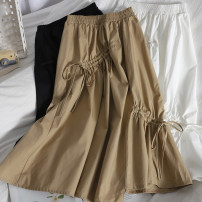 skirt Spring 2021 Average size White, black, khaki Mid length dress Versatile High waist High waist skirt Solid color Type A 18-24 years old 71% (inclusive) - 80% (inclusive) other Bow tie