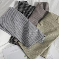 skirt Spring 2021 S,M,L,XL Black, khaki, green, blue Short skirt Versatile High waist A-line skirt lattice Type A 18-24 years old 71% (inclusive) - 80% (inclusive) other zipper