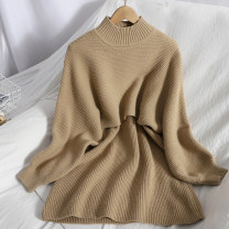 Dress Spring 2021 Apricot, black, flower card Average size Mid length dress Two piece set Sleeveless commute Crew neck High waist Solid color Socket A-line skirt other Type A Korean version 81% (inclusive) - 90% (inclusive) knitting