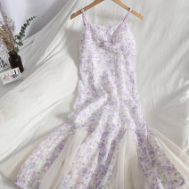Dress Spring 2021 Purple, pink S,M,L longuette singleton  Sleeveless commute V-neck High waist Broken flowers zipper Ruffle Skirt other camisole 18-24 years old Type A Korean version Open back, stitching, nail bead 71% (inclusive) - 80% (inclusive)