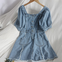 Dress Spring 2021 Denim blue M, L Mid length dress singleton  Short sleeve commute square neck High waist Solid color Single breasted A-line skirt puff sleeve 18-24 years old Type A Korean version Pocket, button 81% (inclusive) - 90% (inclusive) Denim