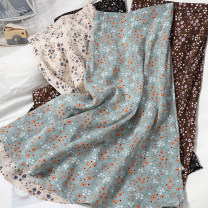 skirt Spring 2021 Average size 1 black, 2 apricot, 3 coffee, 4 blue, 5 apricot, 6 coffee, 7 black Mid length dress Versatile High waist High waist skirt Broken flowers Type A 18-24 years old 81% (inclusive) - 90% (inclusive) Chiffon printing