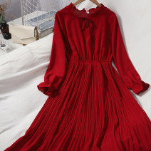 Dress Autumn 2020 Apricot, black, red, blue, green Average size longuette singleton  Long sleeves commute stand collar Elastic waist Solid color Socket Pleated skirt routine Type A lady Bow tie 71% (inclusive) - 80% (inclusive)