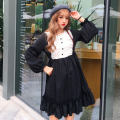 Dress Winter of 2019 Light blue, black Average size Mid length dress singleton  Long sleeves Sweet Crew neck Solid color Ruffle Skirt bishop sleeve Others 18-24 years old Type A Other / other 51% (inclusive) - 70% (inclusive) solar system