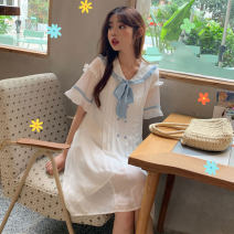 Dress Summer of 2019 Pearl White Average size Middle-skirt singleton  Short sleeve commute V-neck middle-waisted Solid color Single breasted Pleated skirt Flying sleeve 18-24 years old Type H Other / other Korean version 81% (inclusive) - 90% (inclusive) Chiffon polyester fiber