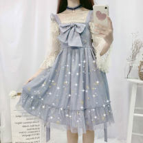 Dress Summer of 2019 Cream apricot, grey blue Average size Mid length dress singleton  Sleeveless Sweet High waist Socket Others 18-24 years old Other / other Lolita