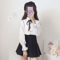 shirt white Average size Autumn of 2018 polyester fiber 71% (inclusive) - 80% (inclusive) Long sleeves Sweet Regular square neck Single row multi button bishop sleeve Solid color 18-24 years old Straight cylinder Other / other Bow tie solar system