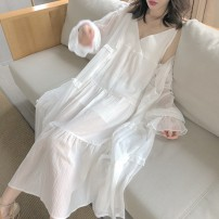 Dress Summer 2021 white Average size Mid length dress singleton  Sleeveless commute V-neck High waist Solid color other Big swing other straps 18-24 years old Type A NiHut Retro Splicing 51% (inclusive) - 70% (inclusive) other polyester fiber