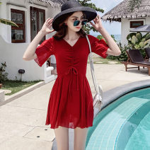 one piece  special counter S,M,L,XL,XXL,XXXL Red, black, bean paste Skirt one piece With chest pad without steel support Nylon, spandex, polyester, others female Short sleeve Casual swimsuit Solid color Pleating