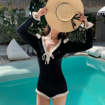 one piece  special counter XL,L,M black Triangle one piece swimsuit With chest pad without steel support Nylon, spandex, polyester, others smq222 female Long sleeves Casual swimsuit Solid color backless