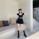 one piece  other XL,L,M black Triangle one piece swimsuit With chest pad without steel support Nylon, others female Short sleeve Casual swimsuit Solid color backless