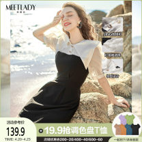 Dress Summer 2021 Black and white S M L XL Mid length dress singleton  Short sleeve commute other High waist Solid color zipper bishop sleeve 25-29 years old Type A Meetlady / milada Simplicity Splicing 91% (inclusive) - 95% (inclusive) other polyester fiber Pure e-commerce (online only)